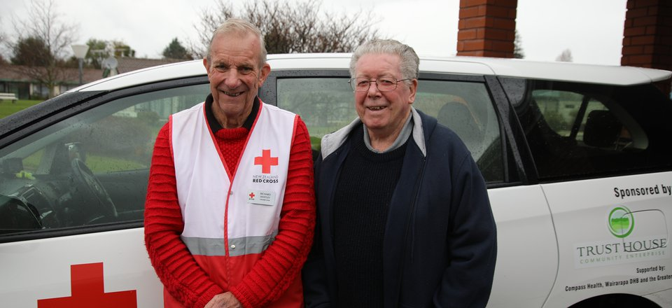 Community Transport driver Richard Whitney, and Parkinson's support group member Harry.
