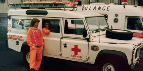 Red Cross volunteers Melissa and Simon in 1988
