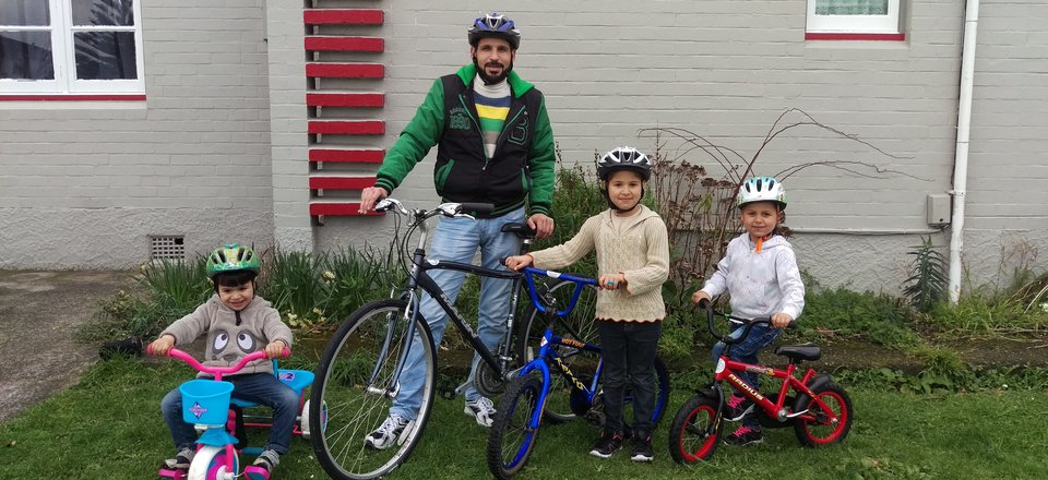 El Masri family with their new bikes