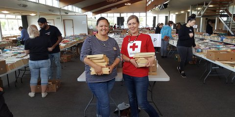 Red Cross staff Linda and Jenna at the 2018 Book Fair