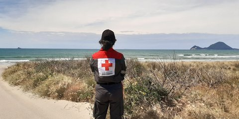 Disaster Welfare and Support Team member at Whakatane beach