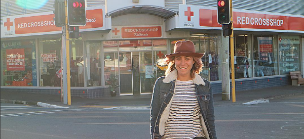 Alex Van Os, fashion blogger, visits the Kilbirnie Red Cross shop