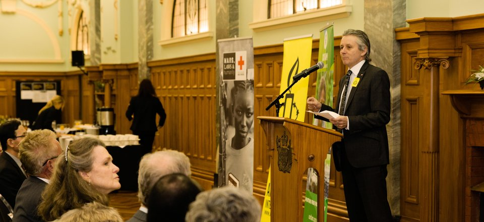 Tony Paine speaks at an Arms Trade Treaty event