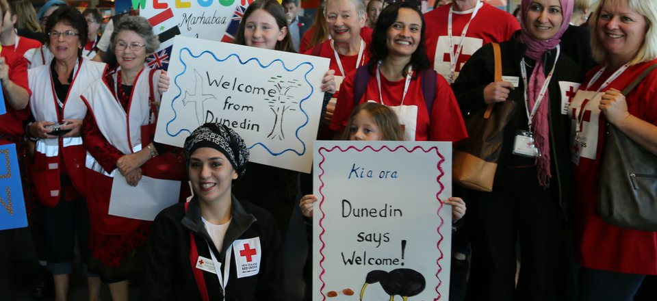 Refugee support volunteers at Dunedin Airport.