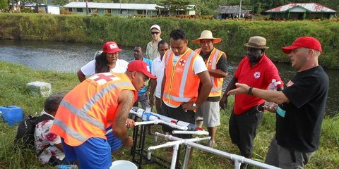 New Zealand Red Cross provided aid workers and funding to support an emergency water and sanitation programme in Samoa