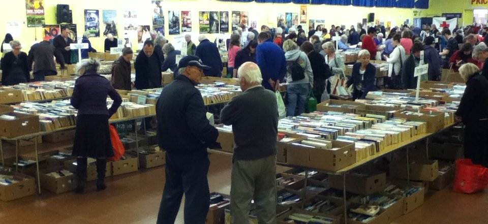 Palmerston North book sale - hall setup