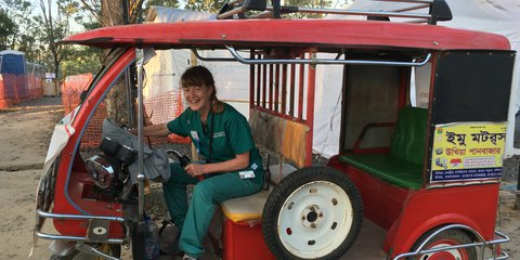 Nurse Fiona Blair in a 'tom tom' at Cox's Bazar