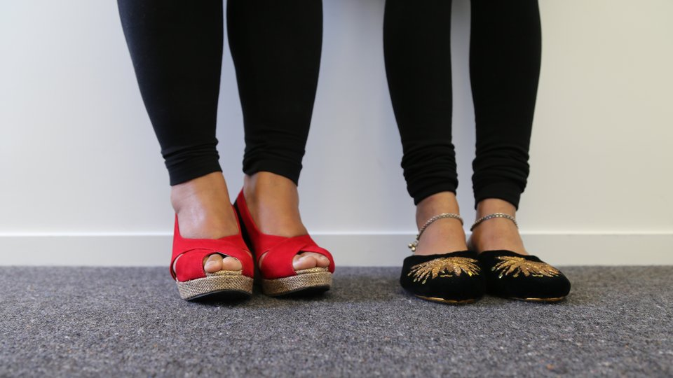 Hawa and Mani swap their shoes