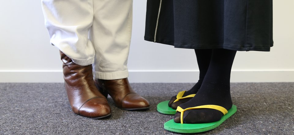 Marie and Yvonne swapped boots for jandals, sharing Maori and Samoan heritage