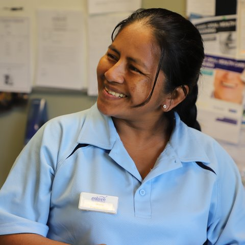Maria's bright smile while working for Enliven residential aged cared home as a house keeper.