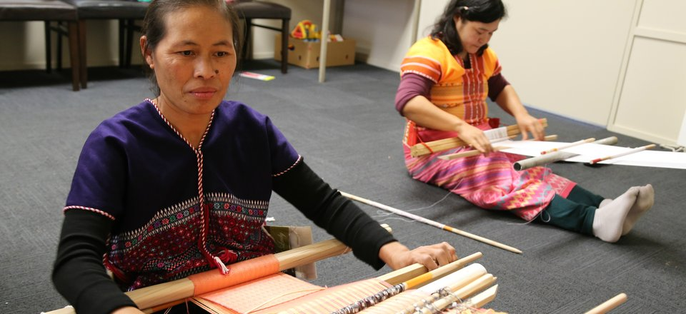 Karen women weaving in Palmerston North