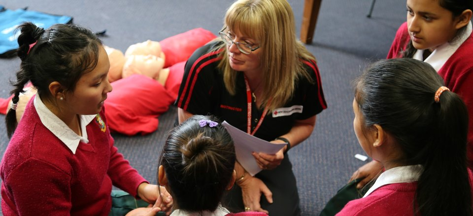 First Aid Instructor Lesley Jacobson teaches first aid at a babysitting course.
