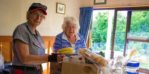 DWST delivered a care package to Brian and Nell (pictured) Aitken at the foothills of Mt Fyffe after their house was badly damaged by the quakes.