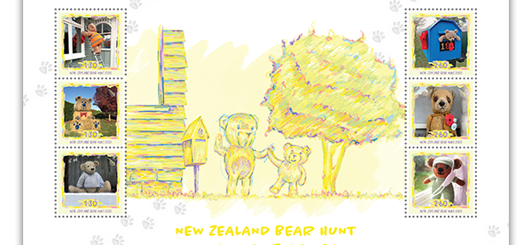 New Zealand Bear Hunt Commemorative Stamp Sheet