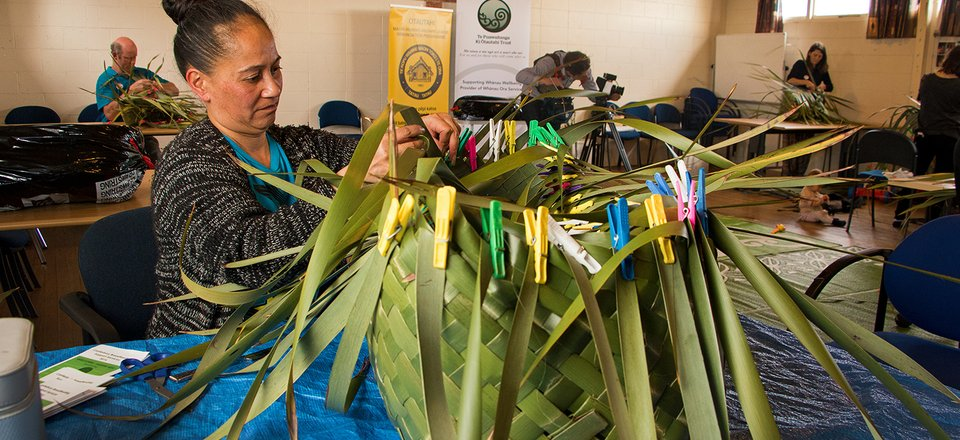 Donna Roberts of Christchurch weaves a wahakura during a wananga at Te Puawaitanga Trust's headquarters in Hornby.