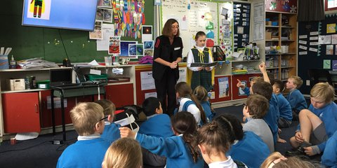Red Cross member Danielle Angland takes the Let's Get Ready programme at St Patrick's School in Napier