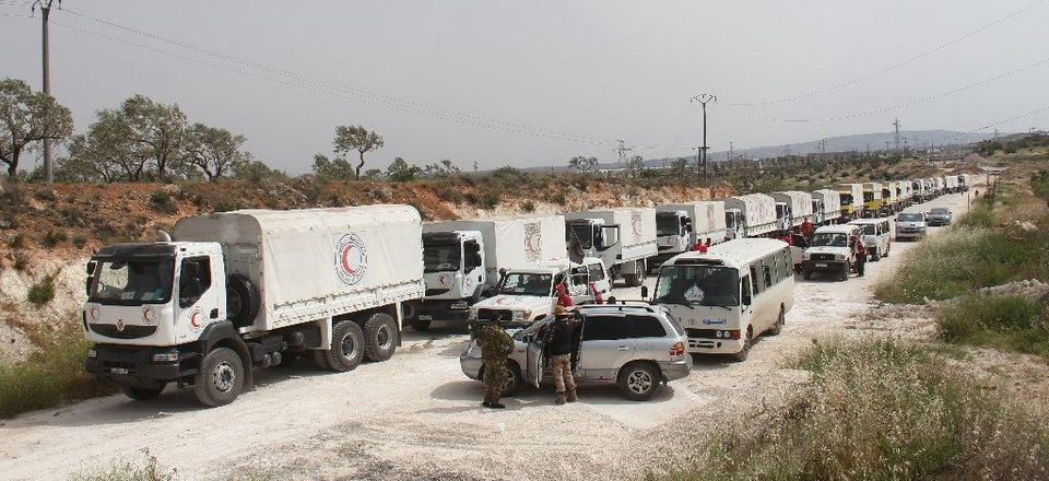 An aid convoy in Syria